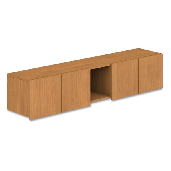 HON Voi Overhead Cabinet, Four Doors/One Cubby, 72w x 14 1/4d x 14h, Harvest