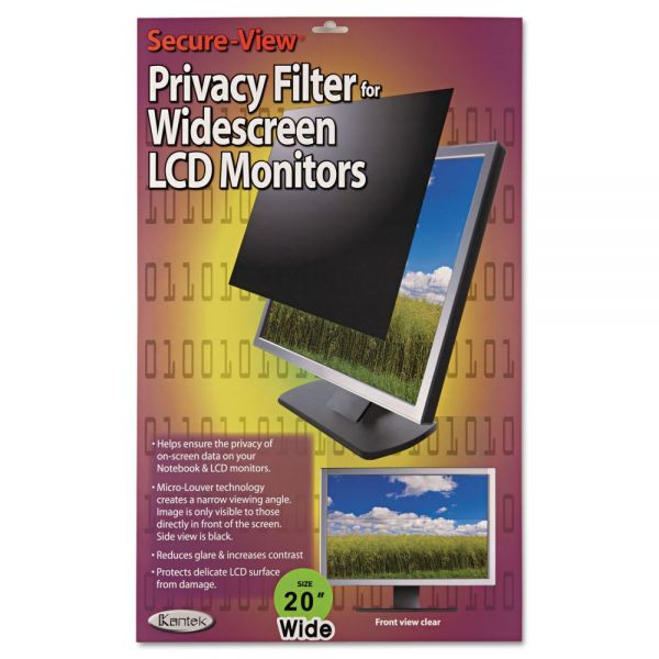 "Kantek Secure View LCD Monitor Privacy Filter For 20"" Notebook/LCD"