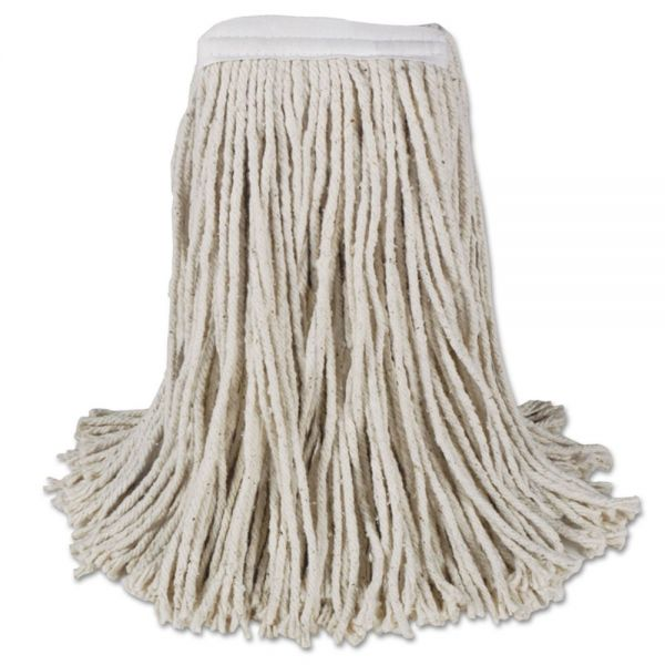 Boardwalk Mop Head, Cotton, Cut-End, White, 4-Ply, #16 Band, 12/Carton