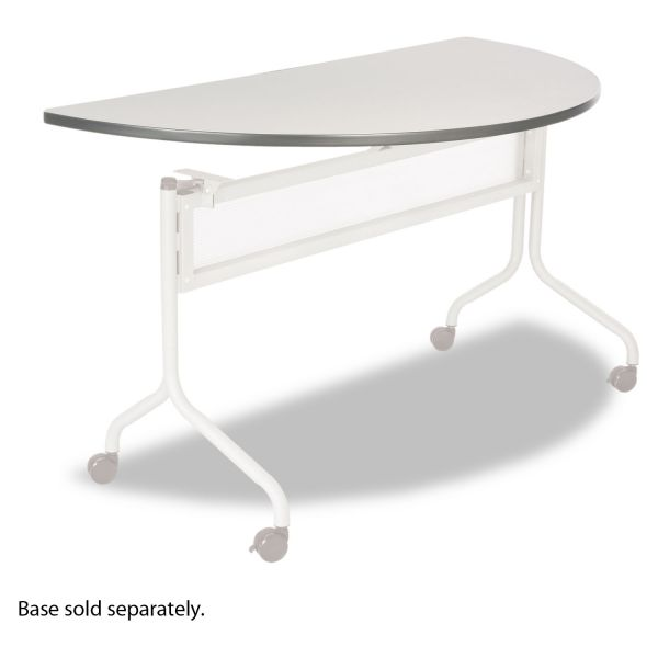 Safco Impromptu Series Mobile Training Table Top, Half Round, 48w x 24d, Gray
