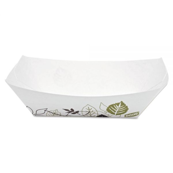 Dixie Kant Leek Paper Food Tray, 1-Comp, White/Green/Burgundy, 6.25 x 4.69 x 3
