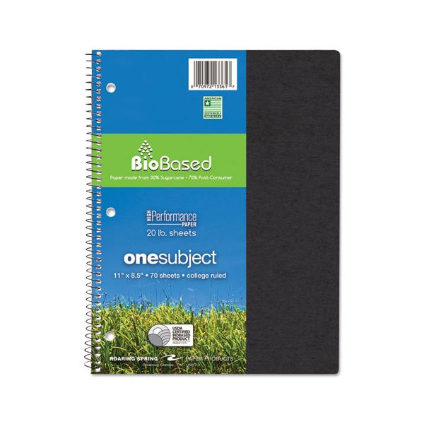 Roaring Spring Environotes BioBased Notebook, 11 x 8 1/2, 70 Sheets, College Rule, Assorted
