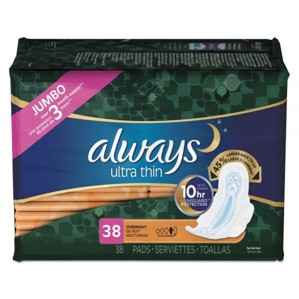 Always Ultra Thin Overnight Pads with Wings, 38/Pack, 6 Pack/Carton