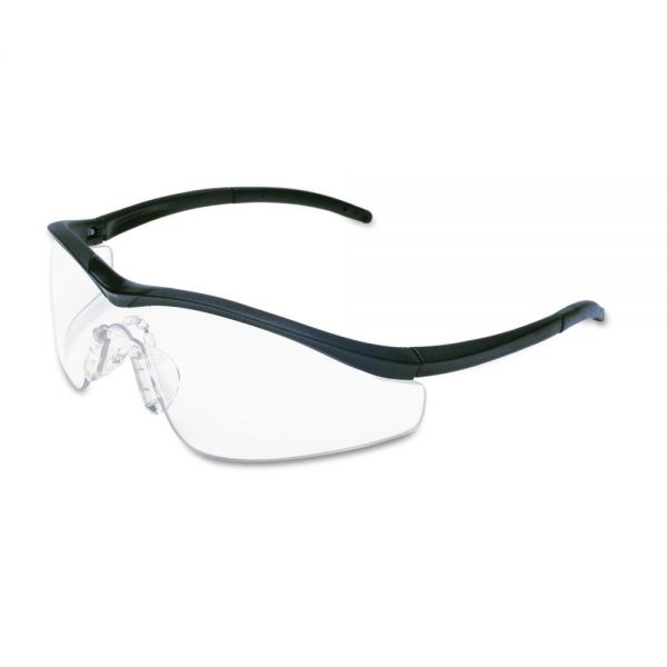 MCR Safety Triwear Onyx Frame, Clear AntiFog Lens, Black Cord