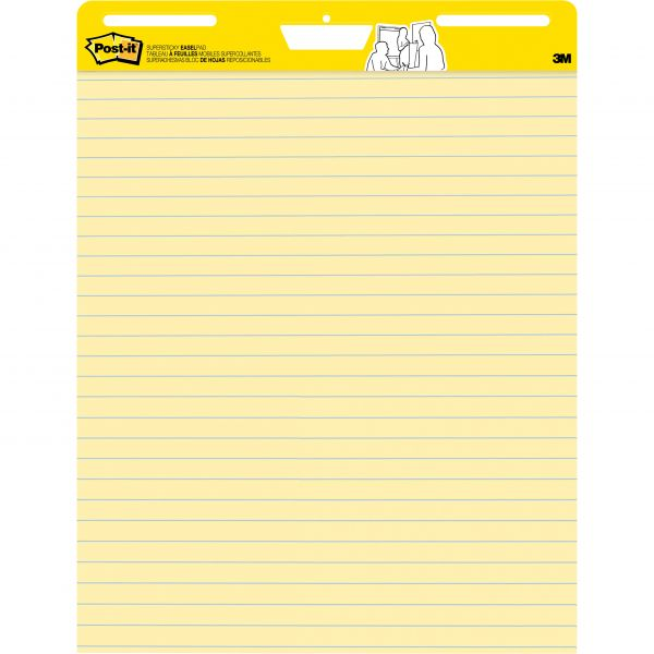 Post-it Easel Pads Self Stick Easel Pads, Ruled, 25 x 30, Yellow, 2 30 Sheet Pads/Carton