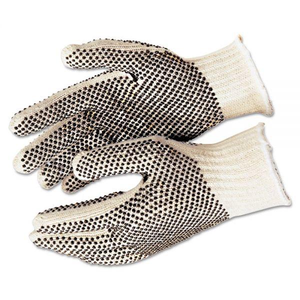 Memphis PVC Dot String-Knit Gloves, Cotton/Polyester, Large