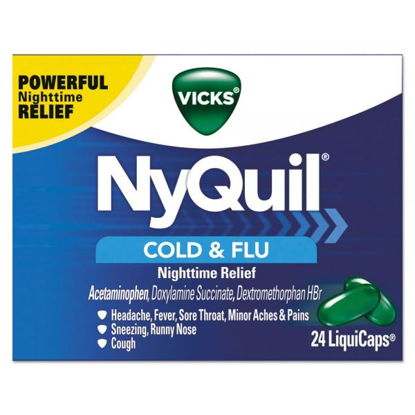 Vicks NyQuil Cold & Flu Nighttime LiquiCaps, 24/Box