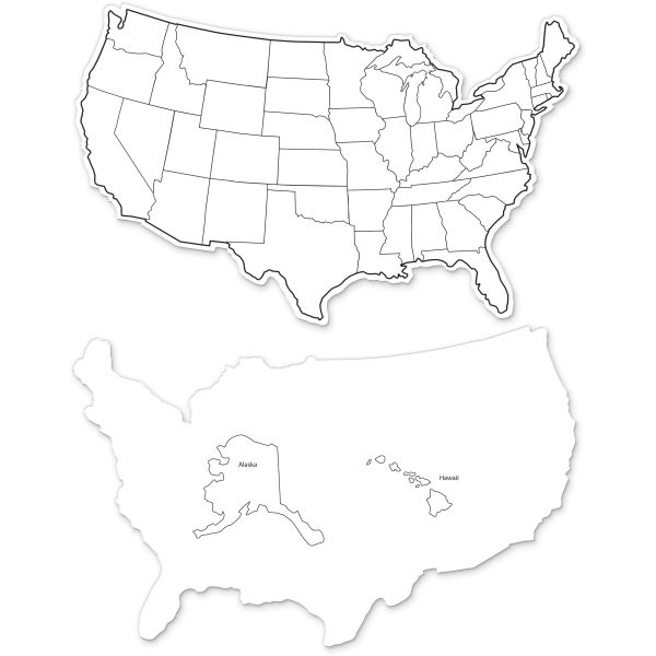 ChenilleKraft 2-Sided USA Map Dry Erase Boards