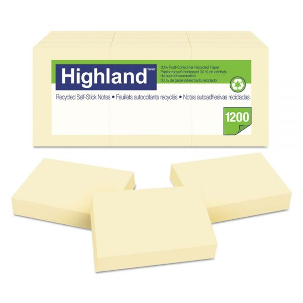 Highland Recycled Self-Stick Adhesive Notes