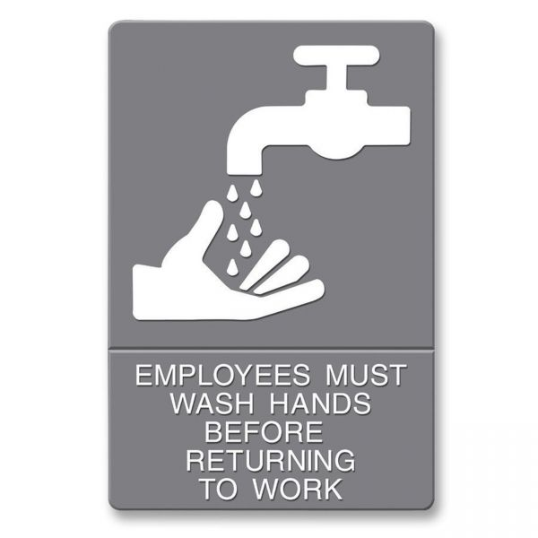 "Headline Signs ""Employees Must Wash Hands Before Returning To Work"" Sign"