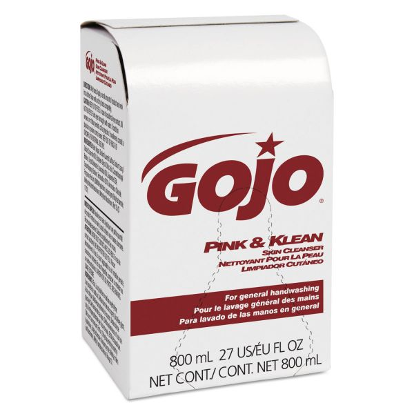 GOJO Pink and Klean Skin Cleanser 800mL Dispenser Refill, Floral, 12/Carton
