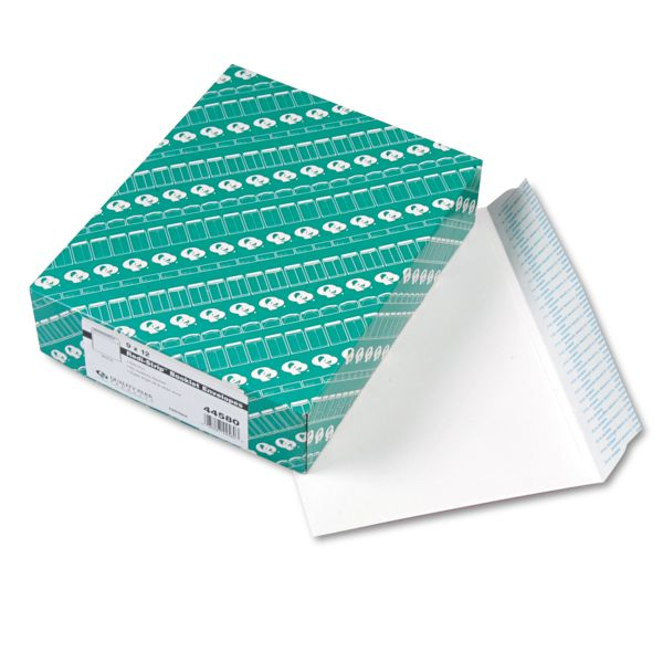 Quality Park Redi Strip Open Side Booklet Envelope, 12 x 9, White, 100/Box