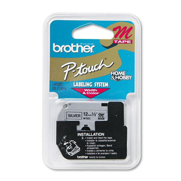 """Brother P-Touch M Series Tape Cartridge for P-Touch Labelers, 1/2""""w, Black on Silver"""