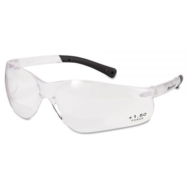 MCR Safety BearKat Magnifier Safety Glasses, Clear Frame, Clear Lens