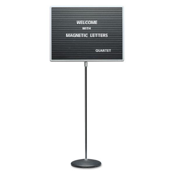Quartet Adjustable Single-Pedestal Magnetic Letter Board, 24 x 18, Black, Gray Frame
