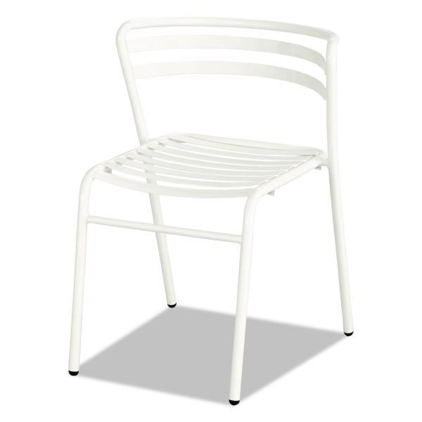 Safco CoGo Steel Outdoor/Indoor Stack Chair, White, 2/Carton