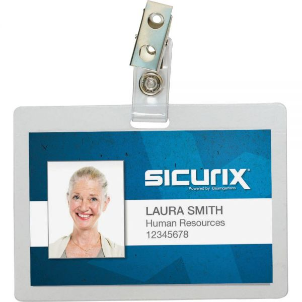 SICURIX Self Laminating Badge Holders Horizontalizontal Clip 25 Pack CLEAR (Pack of 4) (62916)