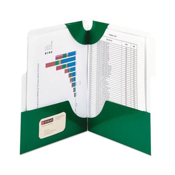 Smead SuperTab Two-Pocket Folder, 11 x 8 1/2, Green, 5/Pack