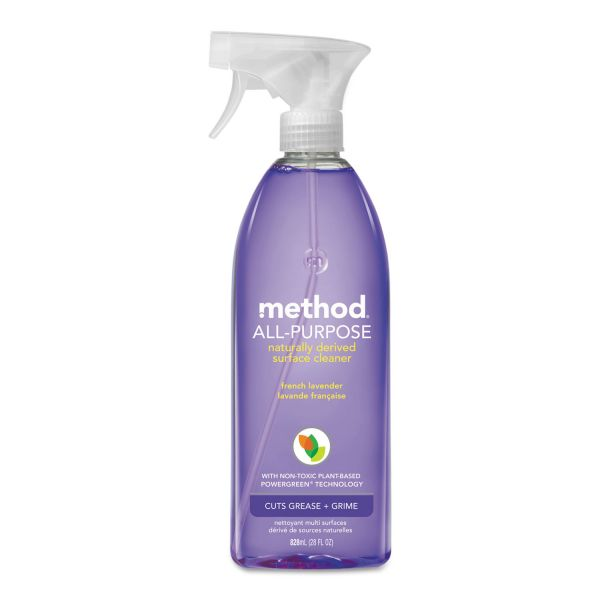 Method All Surface Cleaner, French Lavender, 28 oz Bottle, 8/Carton