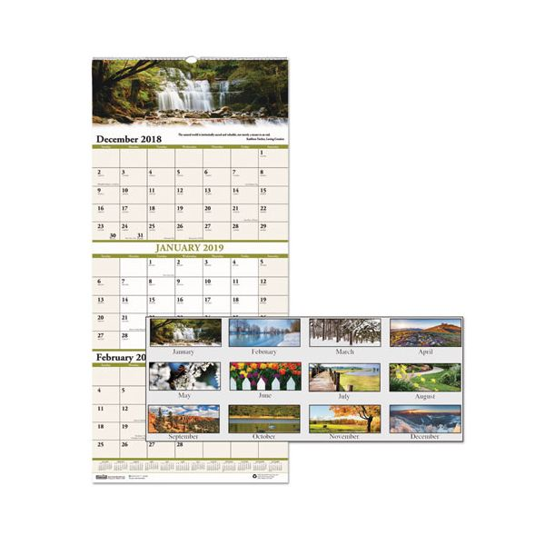 House of Doolittle Recycled Scenic Compact Three-Month Wall Calendar, 8 x 17, 2018-2020
