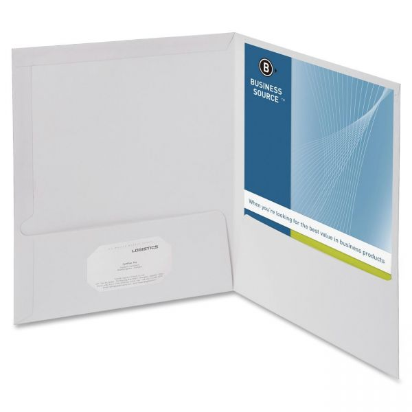 Business Source White Two Pocket Folders