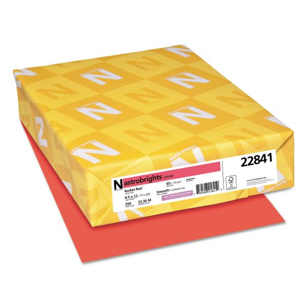 Astrobrights Color Cardstock, 65lb, 8 1/2 x 11, Rocket Red, 250 Sheets