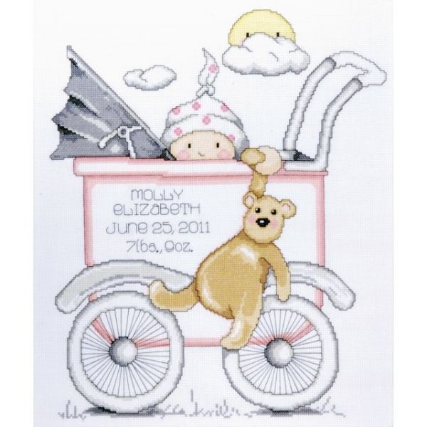 Baby Buggy Girl Birth Record Counted Cross Stitch Kit
