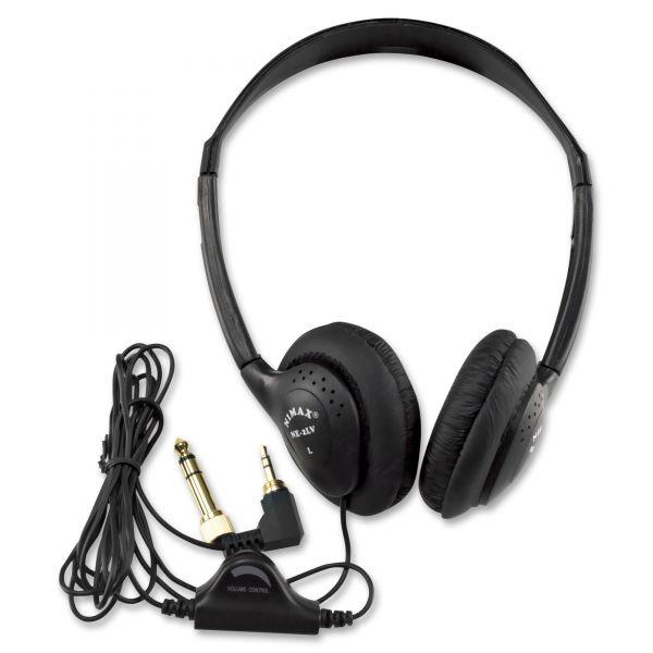 AmpliVox SL1006 Personal Multimedia Stereo Headphones with Volume Control, Black