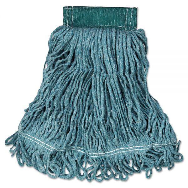 Rubbermaid Commercial Super Stitch Blend Mop Head, Medium, Cotton/Synthetic, Green, 6/Carton