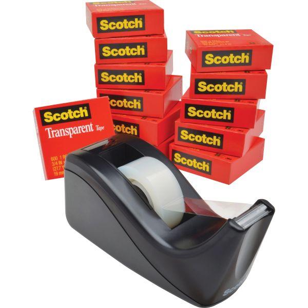 "Scotch Transparent Tape Dispenser Value Pack, 1"" Core, Transparent, 12/Pack"