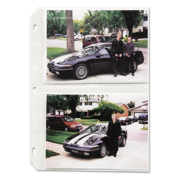 C-Line Clear Photo Holders for Four 5 x 7 Photos, 3-Hole Punched, 11-1/4 x 8-1/2, 50/bx