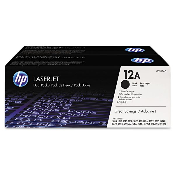 HP 12A Black Toner Cartridges (Q2612D)