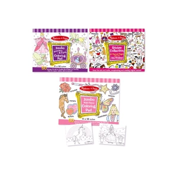 Melissa & Doug Girls Sticker Pad / Coloring Books Bundle