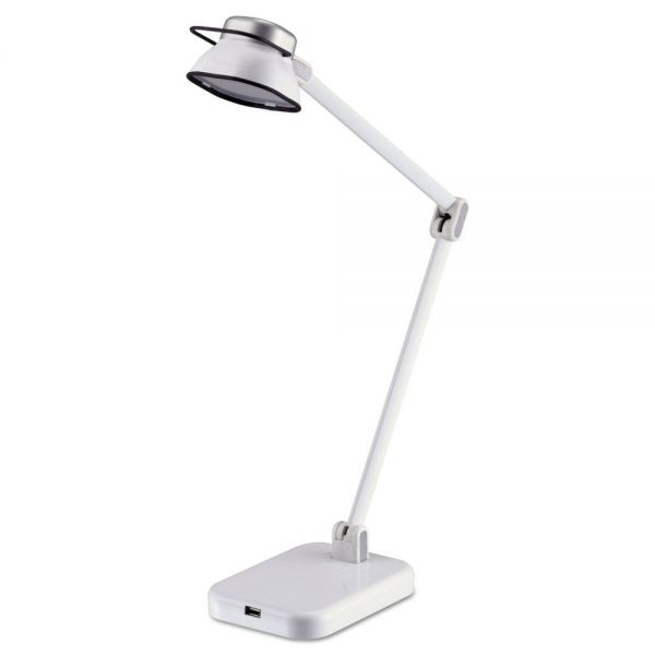 "BLACK+DECKER PureOptics Elate Dual-Arm LED Desk Light, 2 Prong, 21"", White"