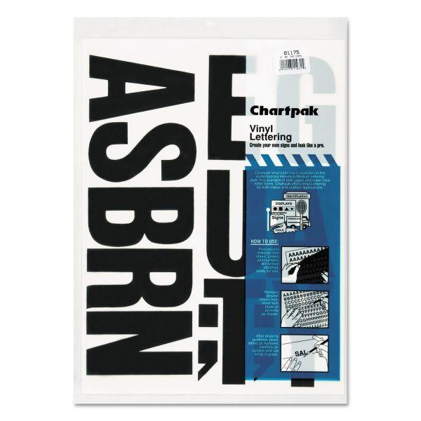 "Chartpak Press-On Vinyl Uppercase Letters, Self Adhesive, Black, 4""h, 58/Pack"