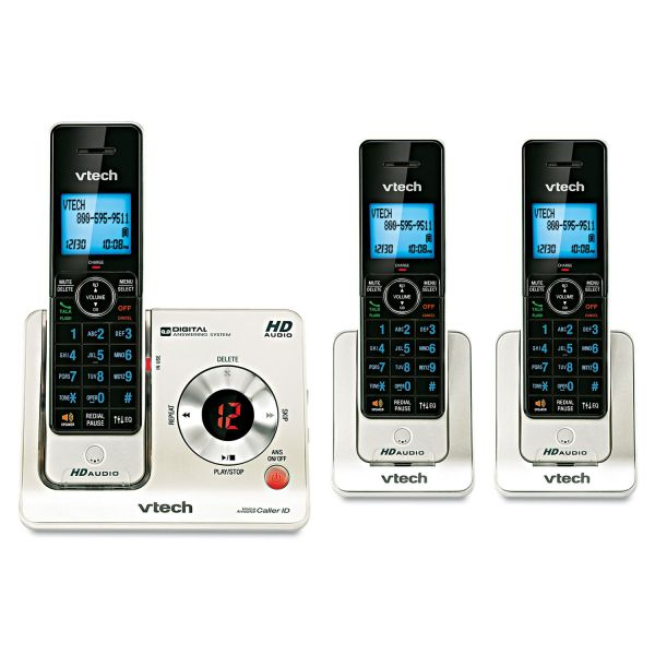 VTech LS6425-3 DECT 6.0 Expandable Cordless Phone with Answering System and Caller ID/Call Waiting, Silver with 2 Handsets