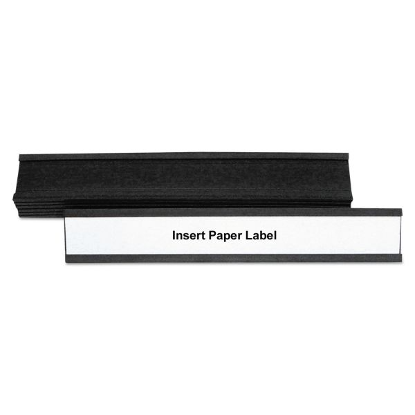 "MasterVision Magnetic Card Holders, 6""w x 1""h, Black, 10/Pack"