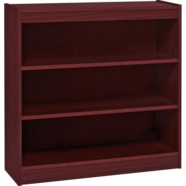 Lorell Panel End 3-Shelf Hardwood Veneer Bookcase
