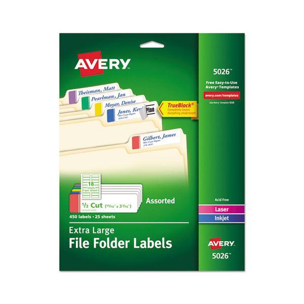 Avery X-Large 1/3-Cut File Folder Labels w/TrueBlock, 15/16 x 3 7/16, WE/ASST, 450/PK