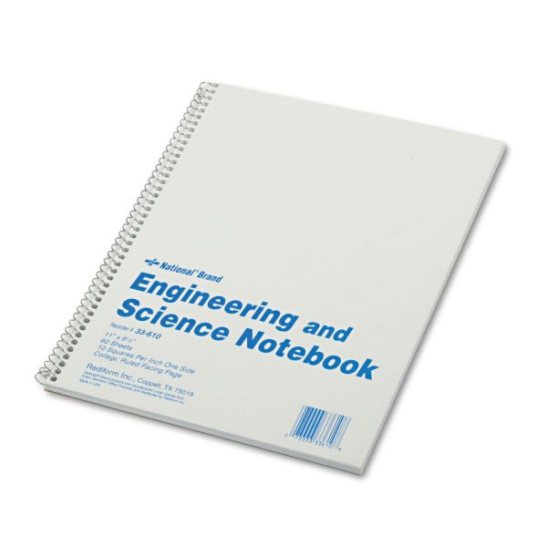 National Engineering and Science Notebook, College Rule, 11x 8 1/2, White, 60 Sheets