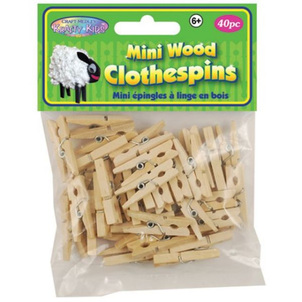 Krafty Kids Mini Wood Clothespins