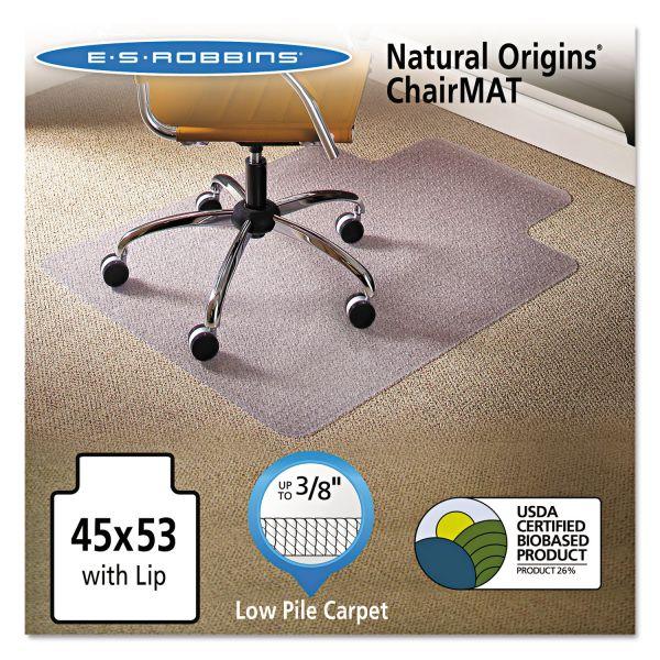 ES Robbins Natural Origins Chair Mat With Lip For Carpet, 45 x 53, Clear
