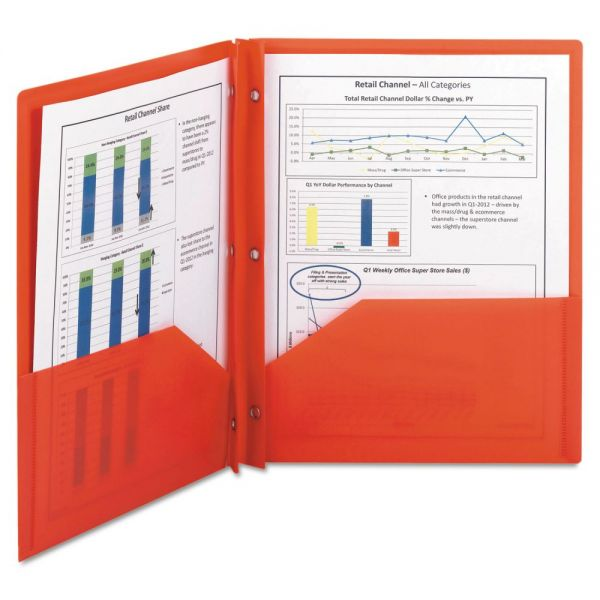 Smead Red Plastic Two Pocket Folders with Fasteners