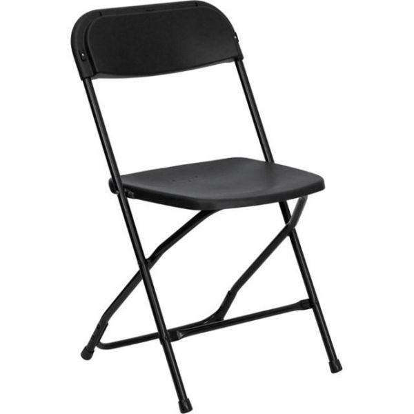 Flash Furniture HERCULES Series 800 lb. Capacity Premium Black Plastic Folding Chair [LE-L-3-BK-GG]