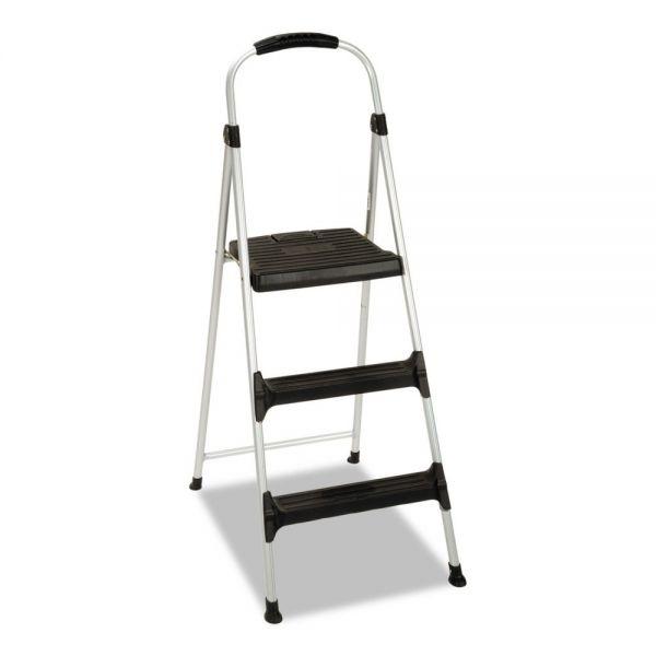 "Cosco Aluminum Step Stool, 3-Step, 225lb, 28 29/64"" Working Height, Platinum/Black"