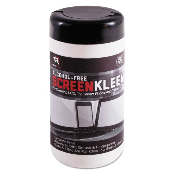 Read Right ScreenKleen Monitor Screen Wet Wipes, Cloth, 5 1/4 x 5 3/4, 50/Tub