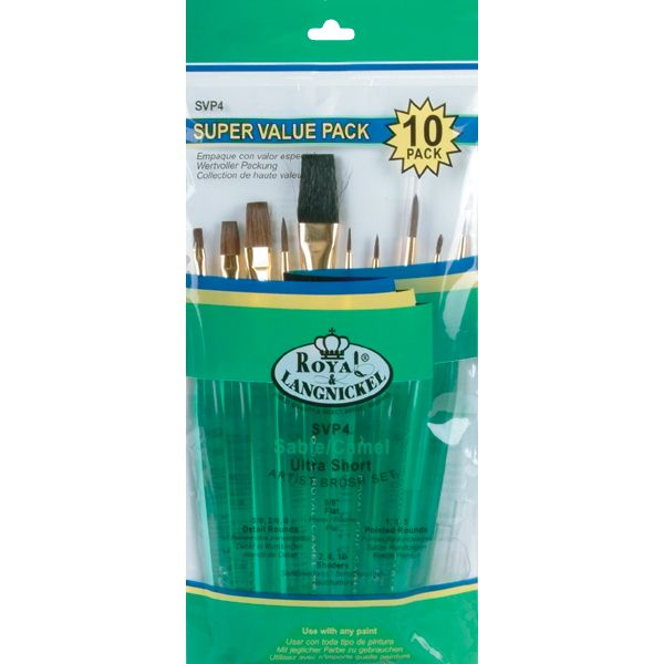 Ultra Short Sable/Camel Super Value Pack Brush Set