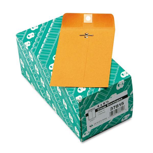 Quality Park Clasp Envelope, 4 x 6 3/8, 28lb, Brown Kraft, 100/Box