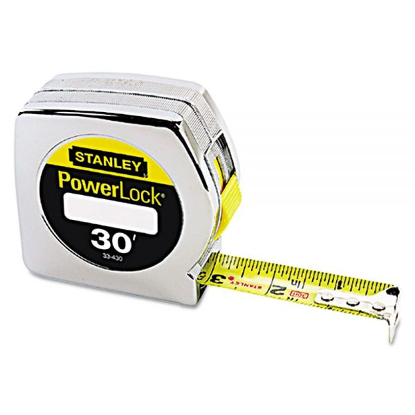 "Stanley Tools Powerlock Tape Rule, 1"" x 30ft, Plastic Case, Chrome, 1/16"" Graduation"