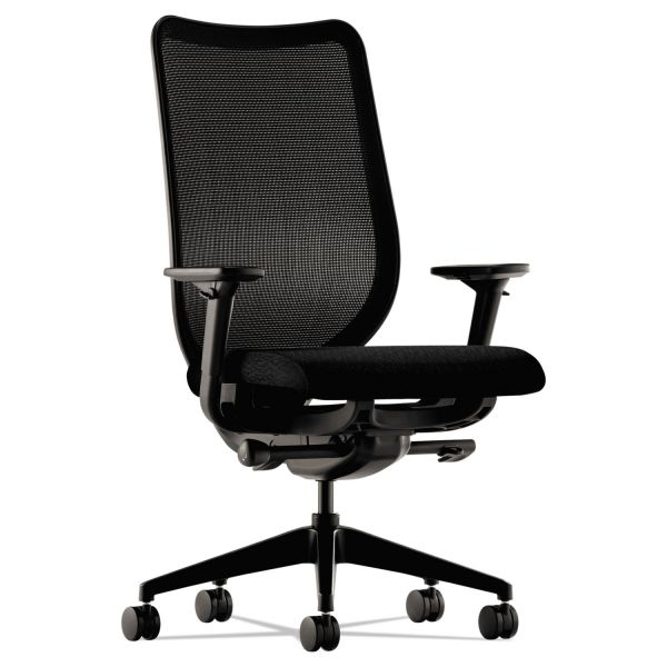 HON Nucleus Series Work Chair, Black ilira-stretch M4 Back, Black Seat
